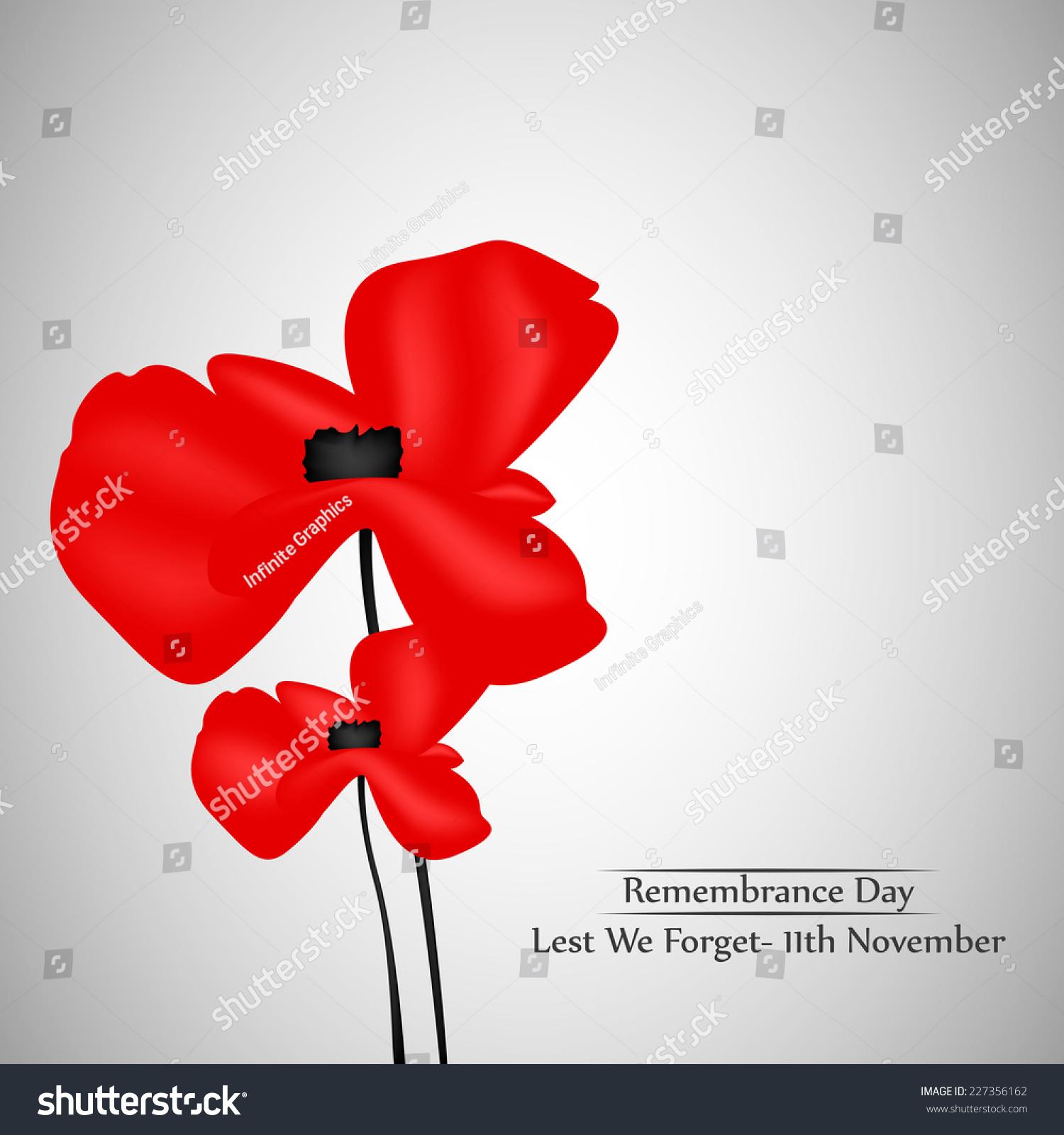 illustration poppy flower remembrance day stock vector 227356162