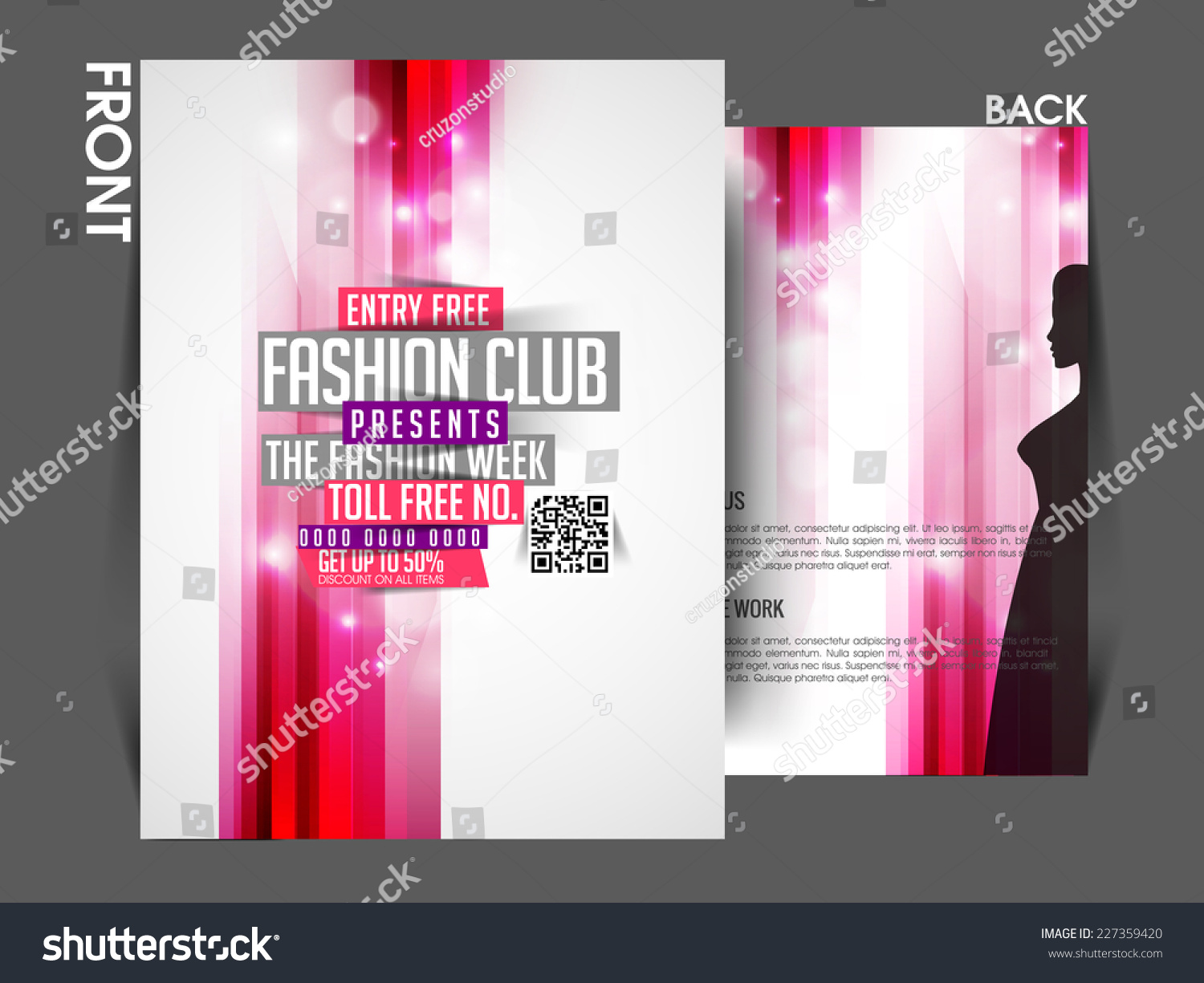 Vector Fashion Front Back Flyer Template Vector 227359420 – Fashion Design Brochure Template