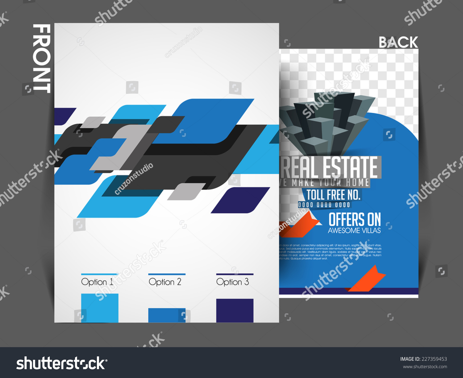 vector architecture real estate front back stock vector  vector architecture and real estate front back flyer template poster cover brochure design