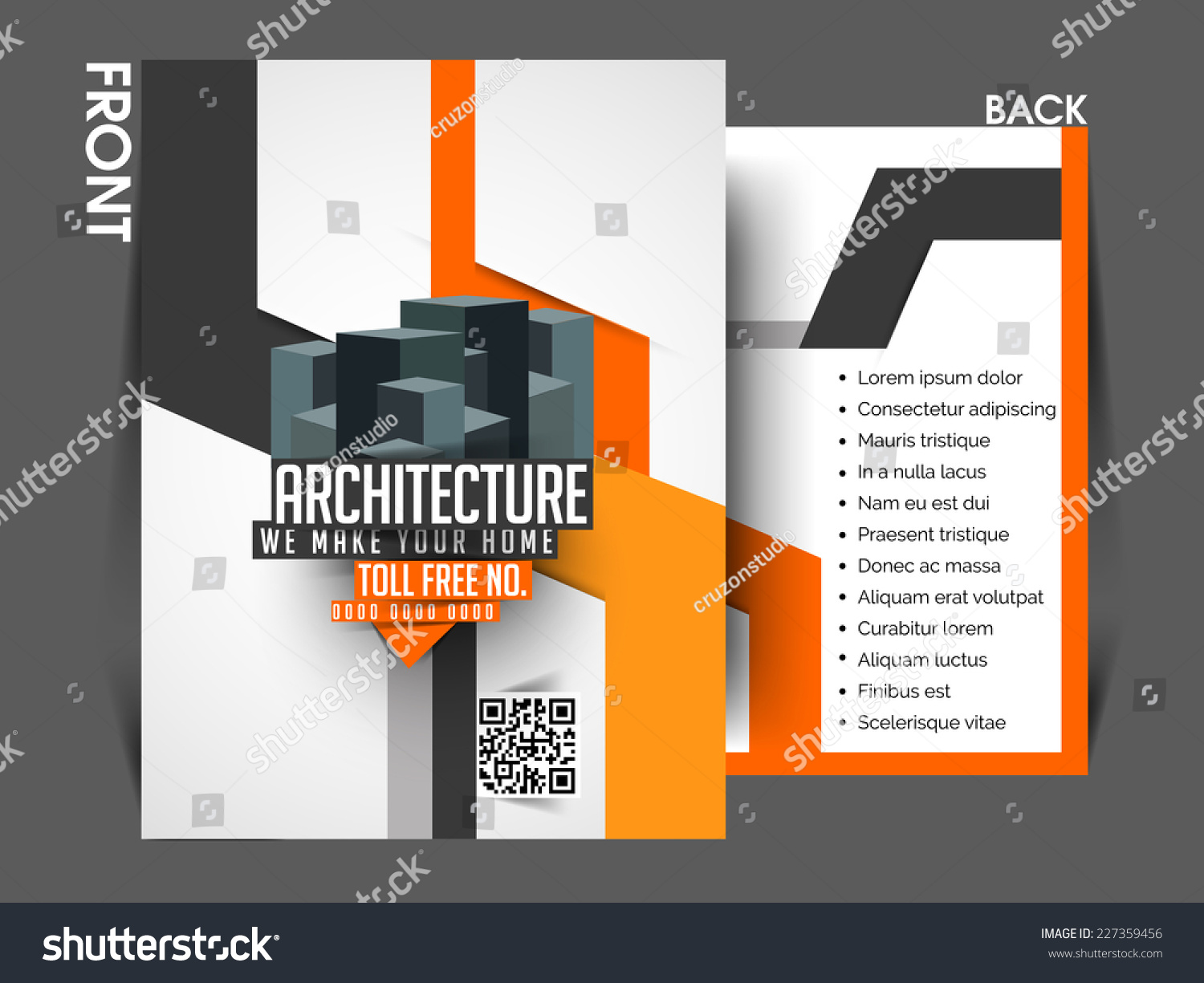 vector architecture front back flyer template stock vector vector architecture front back flyer template poster cover brochure design