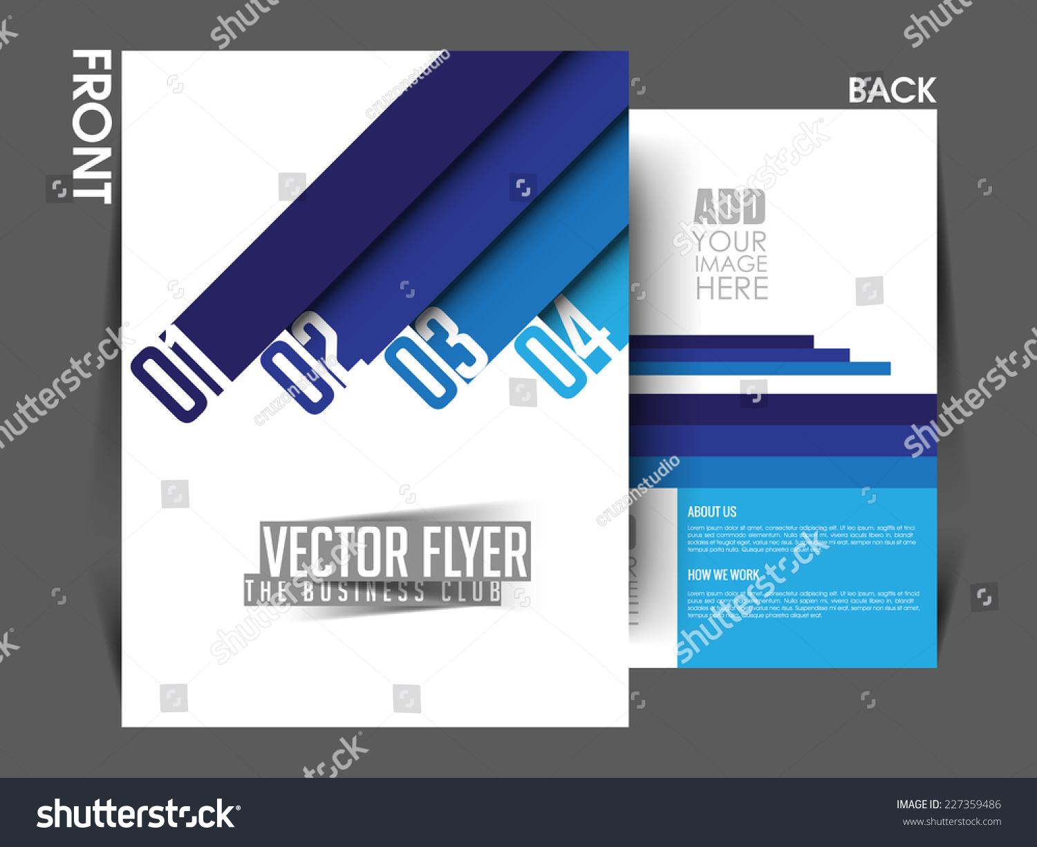 Vector front back flyer template poster cover brochure for Brochure front cover design