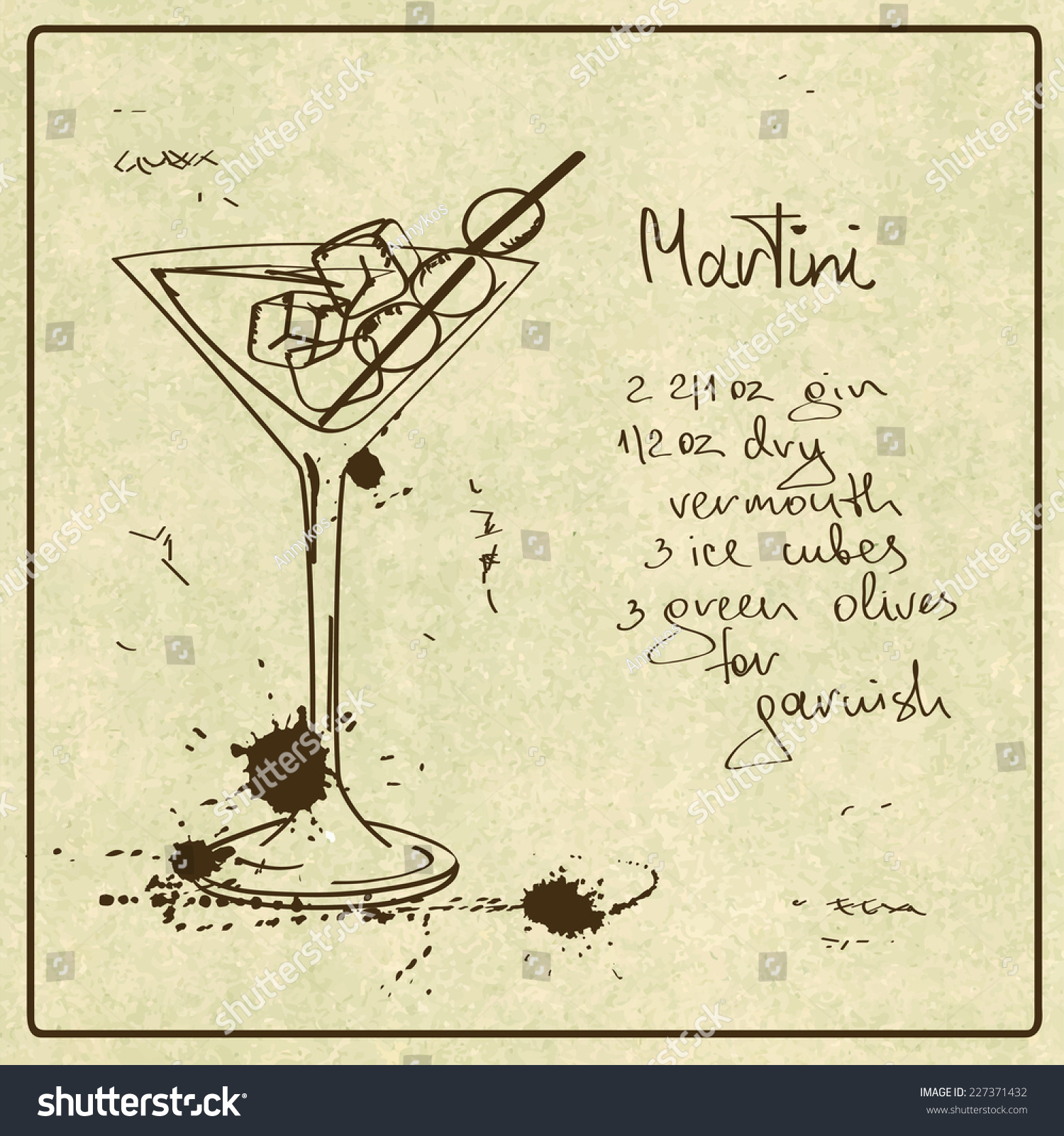 Illustration hand drawn sketch martini cocktail stock for Cocktail recipes with ingredients on hand