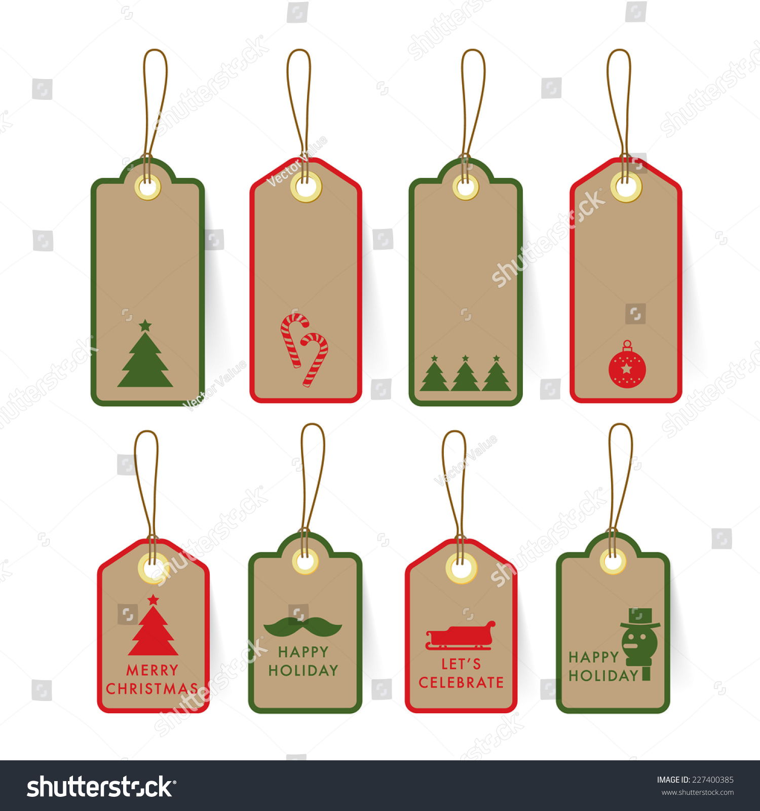 collection christmas card tag label on stock vector  collection of christmas card tag and label on paper element and text design template