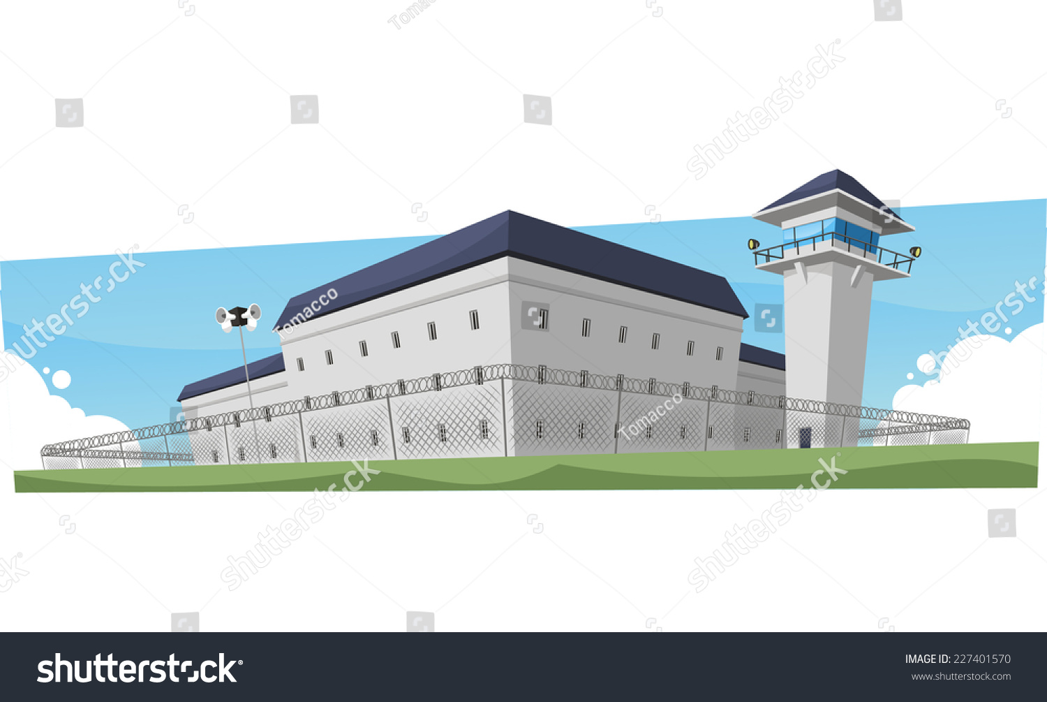 how to draw a jail building