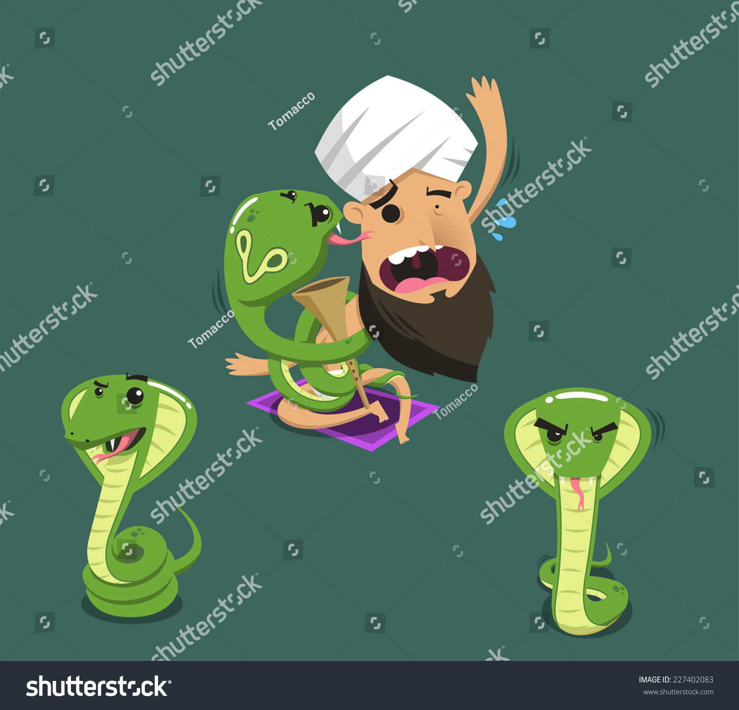 Charmer Being Eaten By Cobra Poisonous Stock Vector
