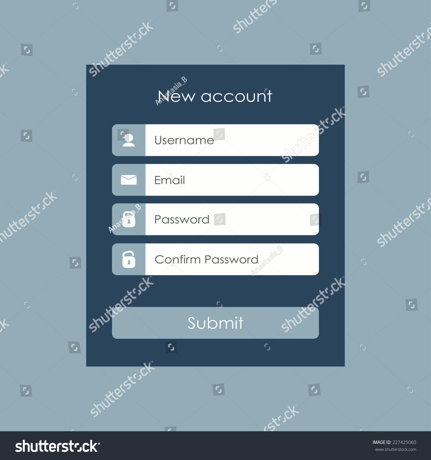 Registration Form Flat Design Template Website Stock Vector Royalty