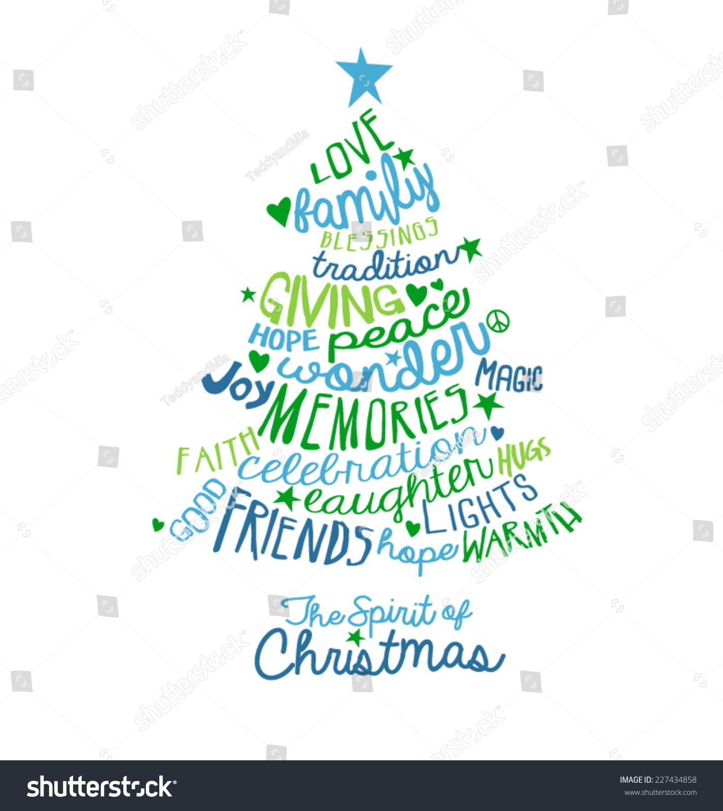 Christmas Card Word Cloud Tree Design Stock Vector Royalty Free