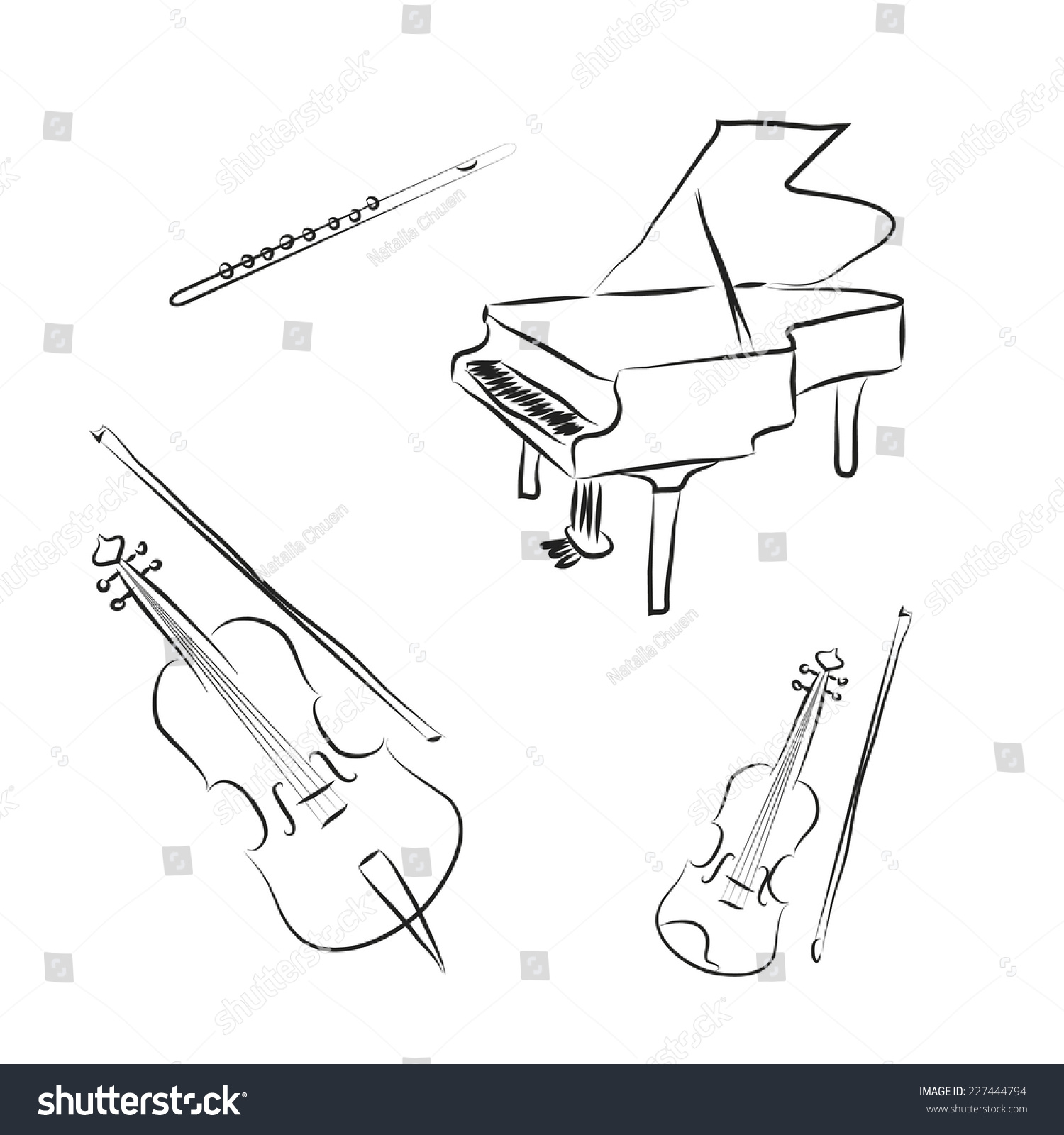 flute coloring page - black white cartoon music instruments violin stock vector
