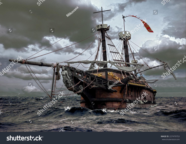 Abandoned Historic Sailing Ship In The Stormy Sea Wooden Sailboat Sails A Storm At
