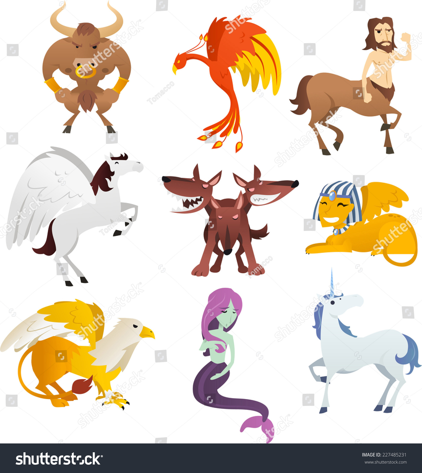 mythological creatures animals unicorn phoenix sphinx stock vector