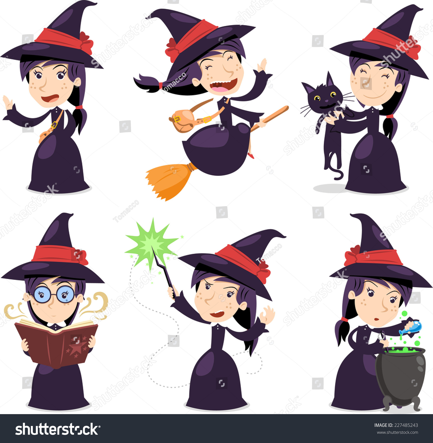 Witch set with witch wearing a black dress with black cat with magic wand and  sc 1 st  Shutterstock & Witch Set Witch Wearing Black Dress Stock Vector (2018) 227485243 ...