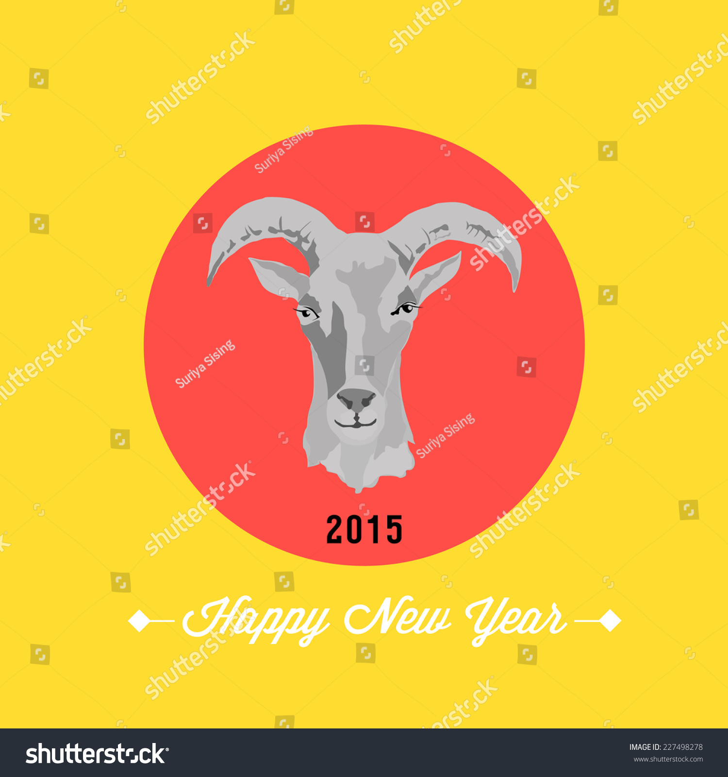 2015 New Year Card Goat Vector Stock Vector Royalty Free 227498278