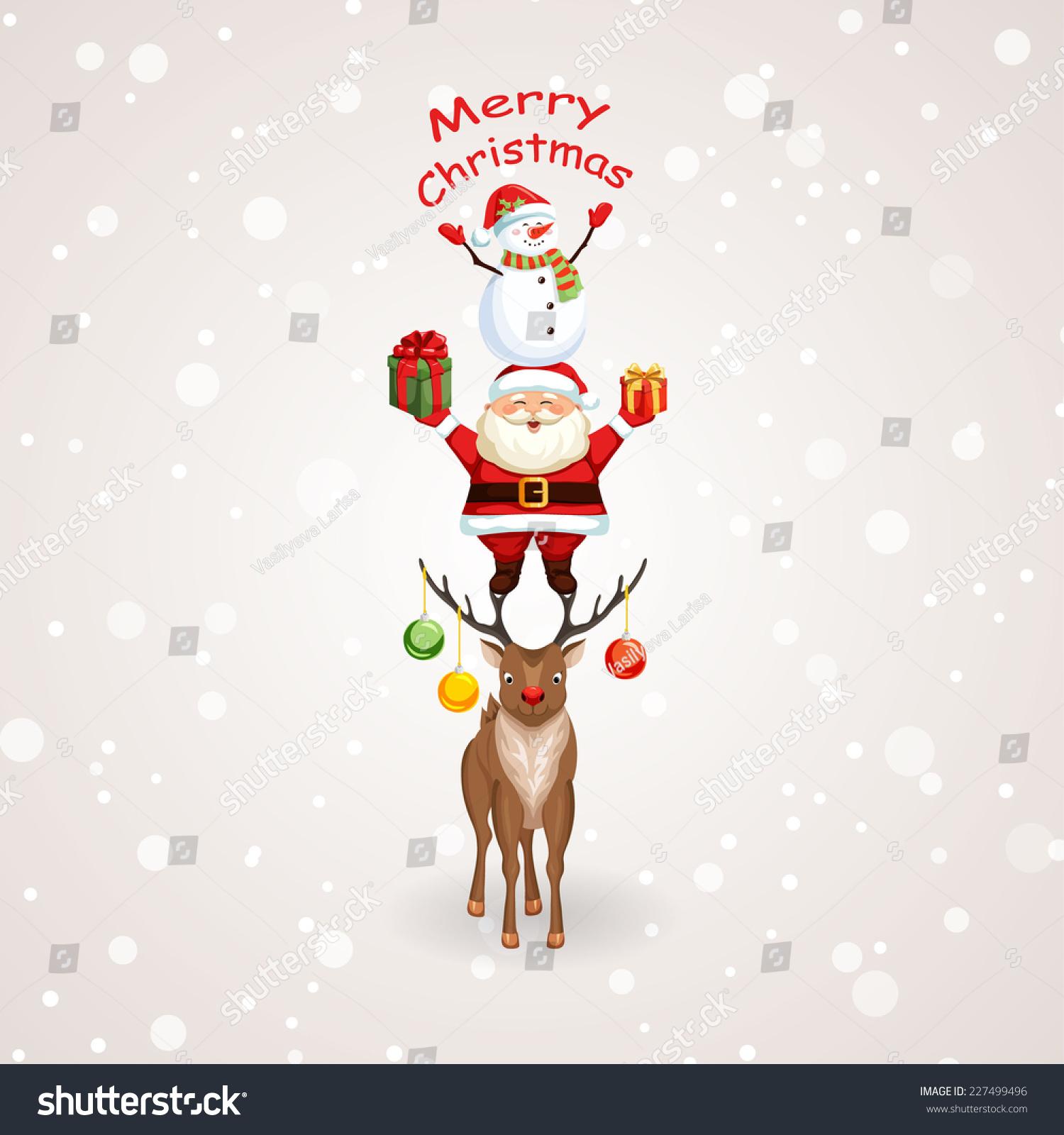 Christmas Tree Santa Claus Reindeer Snowman Stock Vector ...