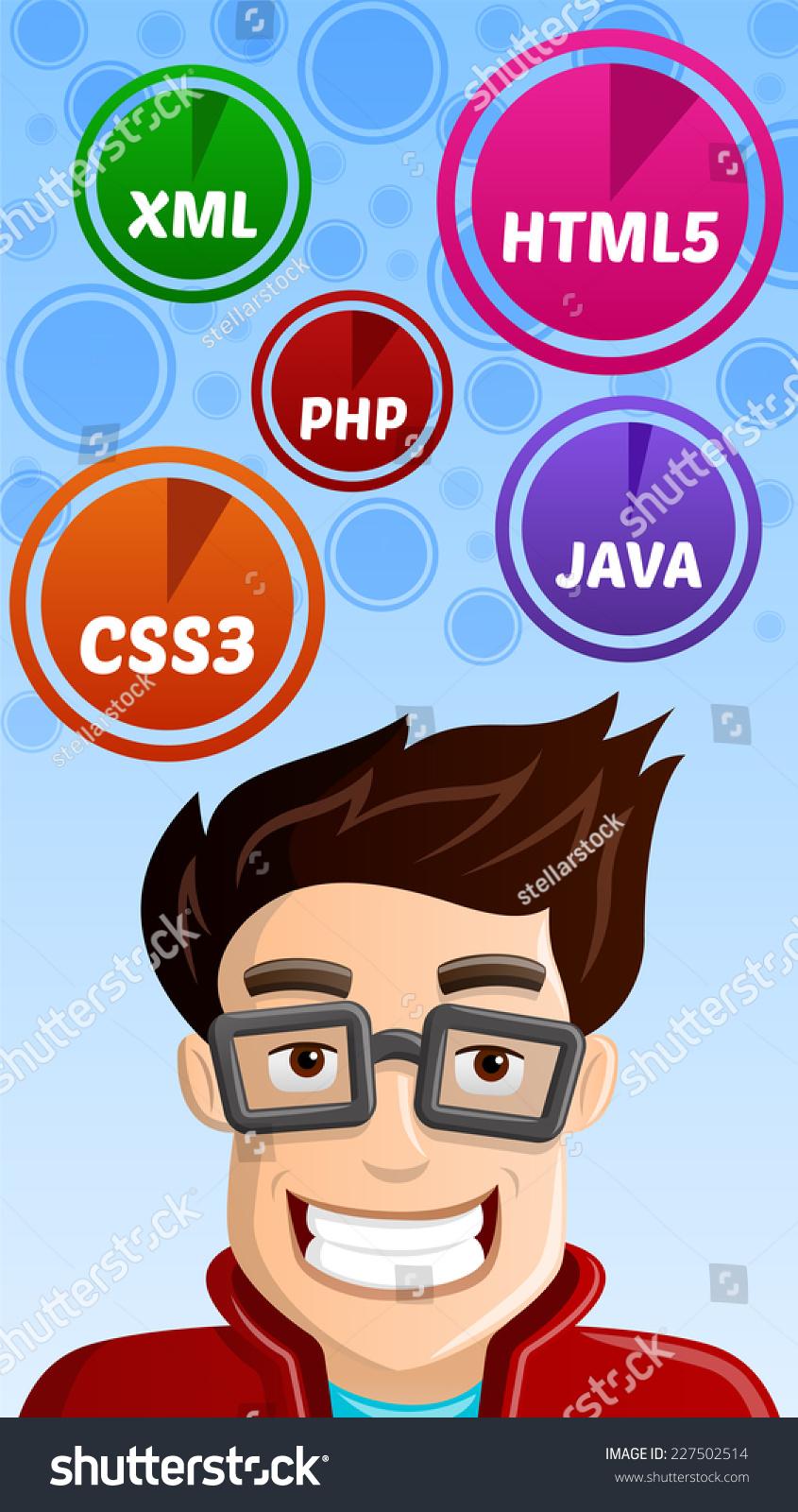 Computer Geek Programmer Html5 Css3 Php Vector 227502514 – Xml Programmer