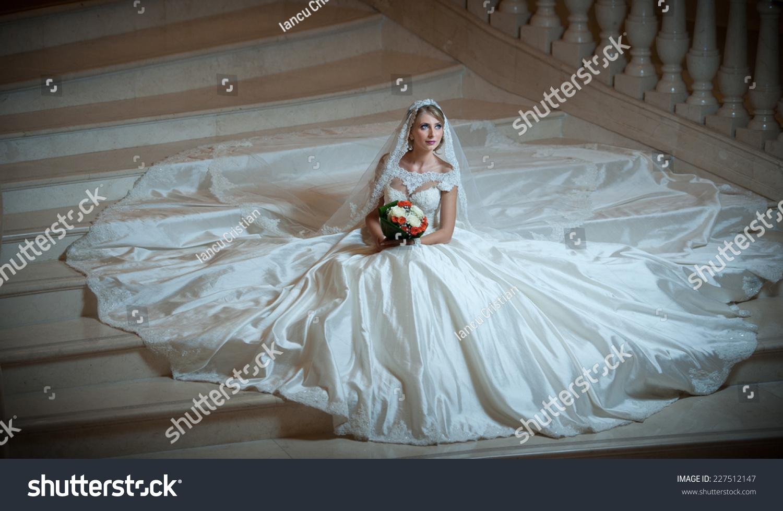 Young Beautiful Luxurious Woman Wedding Dress Stock Photo (Royalty ...