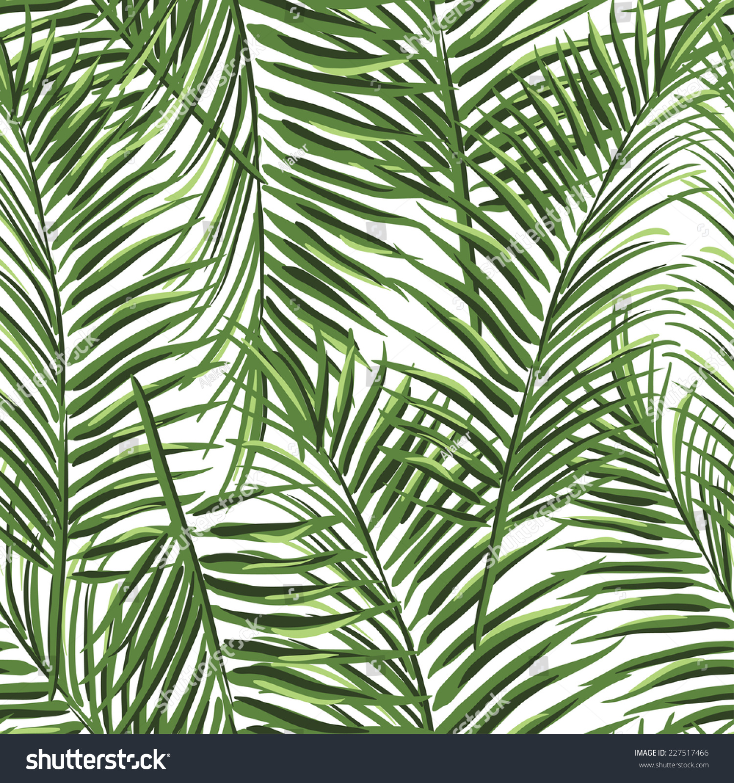 Beautiful Tropical Palm Leaves Vector Seamless Pattern ... Coconut Tree Rainforest
