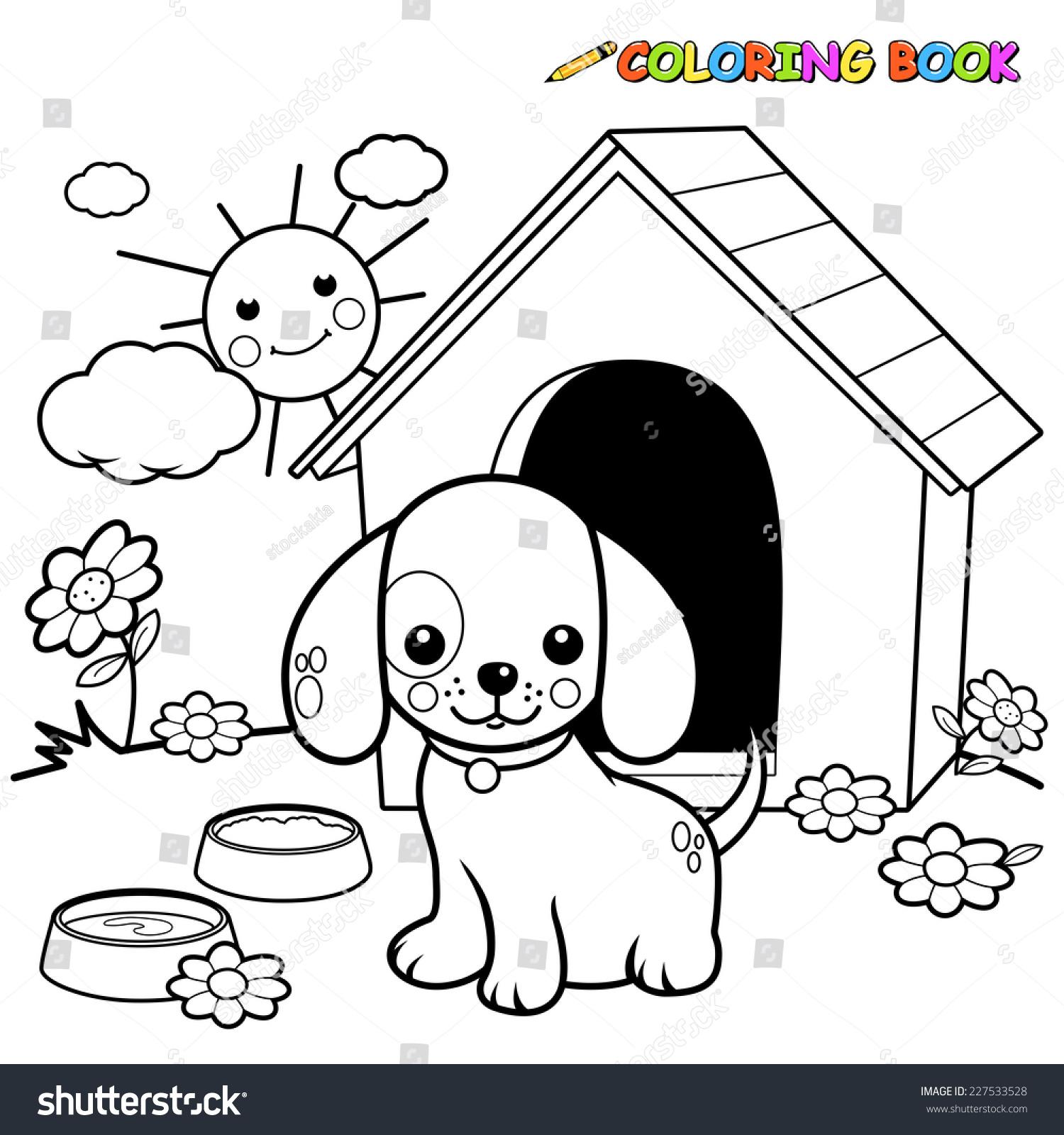 black white outline image dog standing stock vector 227533528 shutterstock. Black Bedroom Furniture Sets. Home Design Ideas