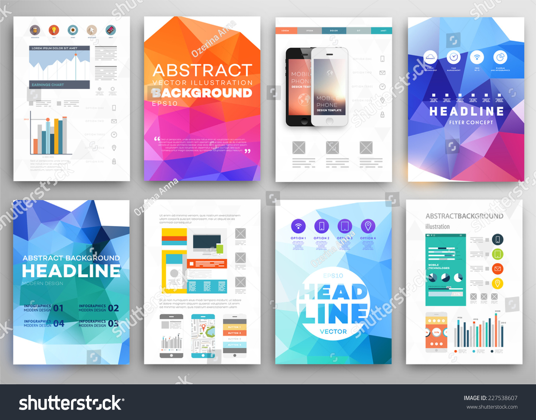 brochure modern design - set flyer brochure design templates geometric stock vector