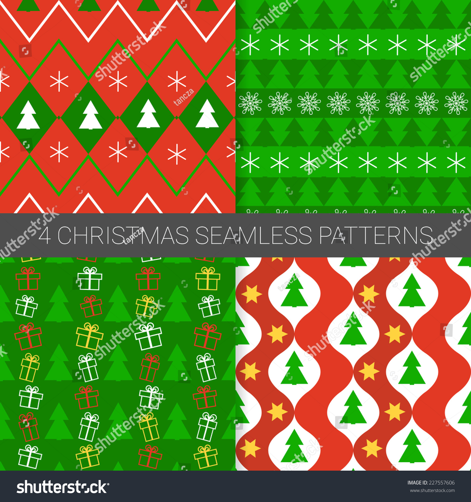 Set Simple Christmas Patterns Snowflakeschristmas Tree Stock Vector