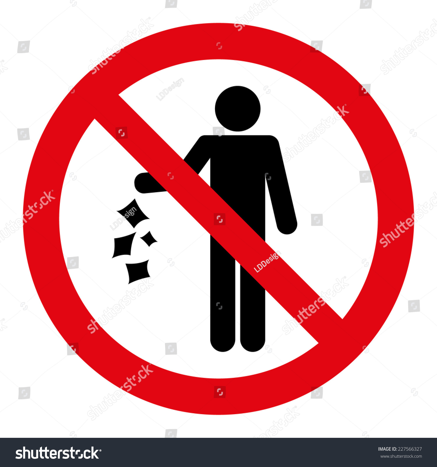 No Littering Sign Stock Vector Royalty Free 227566327 Shutterstock