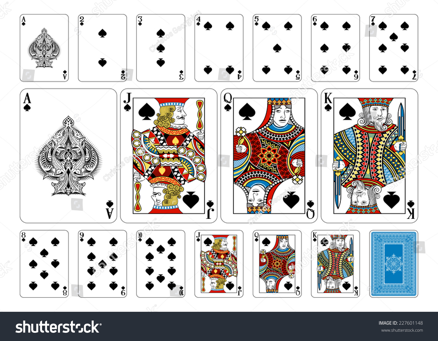 Poker Size Spade Playing Cards Plus Stock Vector Royalty Free
