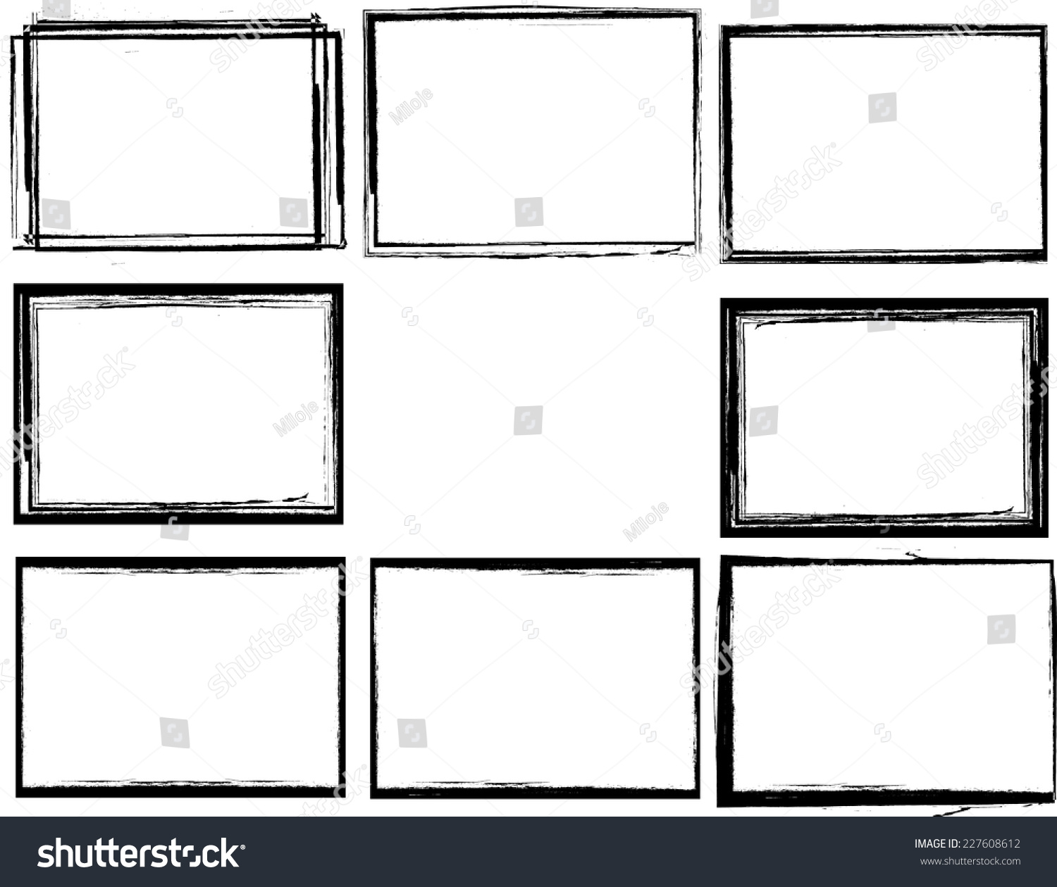 set of grunge black and white frames textured rectangles for image