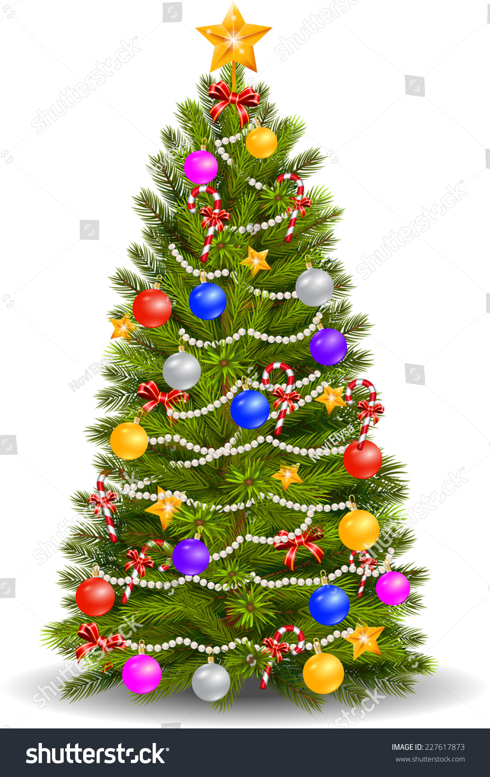 Christmas Tree With Colorful Ornaments Stock Photo ...