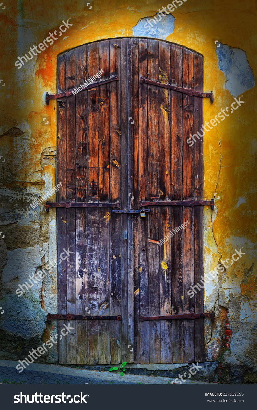 Old wooden door closed several years