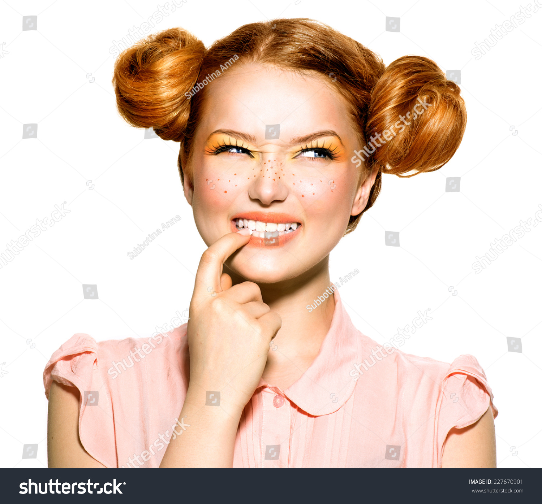 Beauty Teenage Model Girl Portrait Sneaky Stock Photo ...
