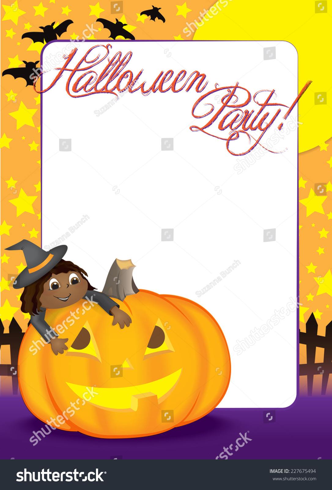 Blank Halloween Party Invitation Or Holiday Flyer With A Cute ...
