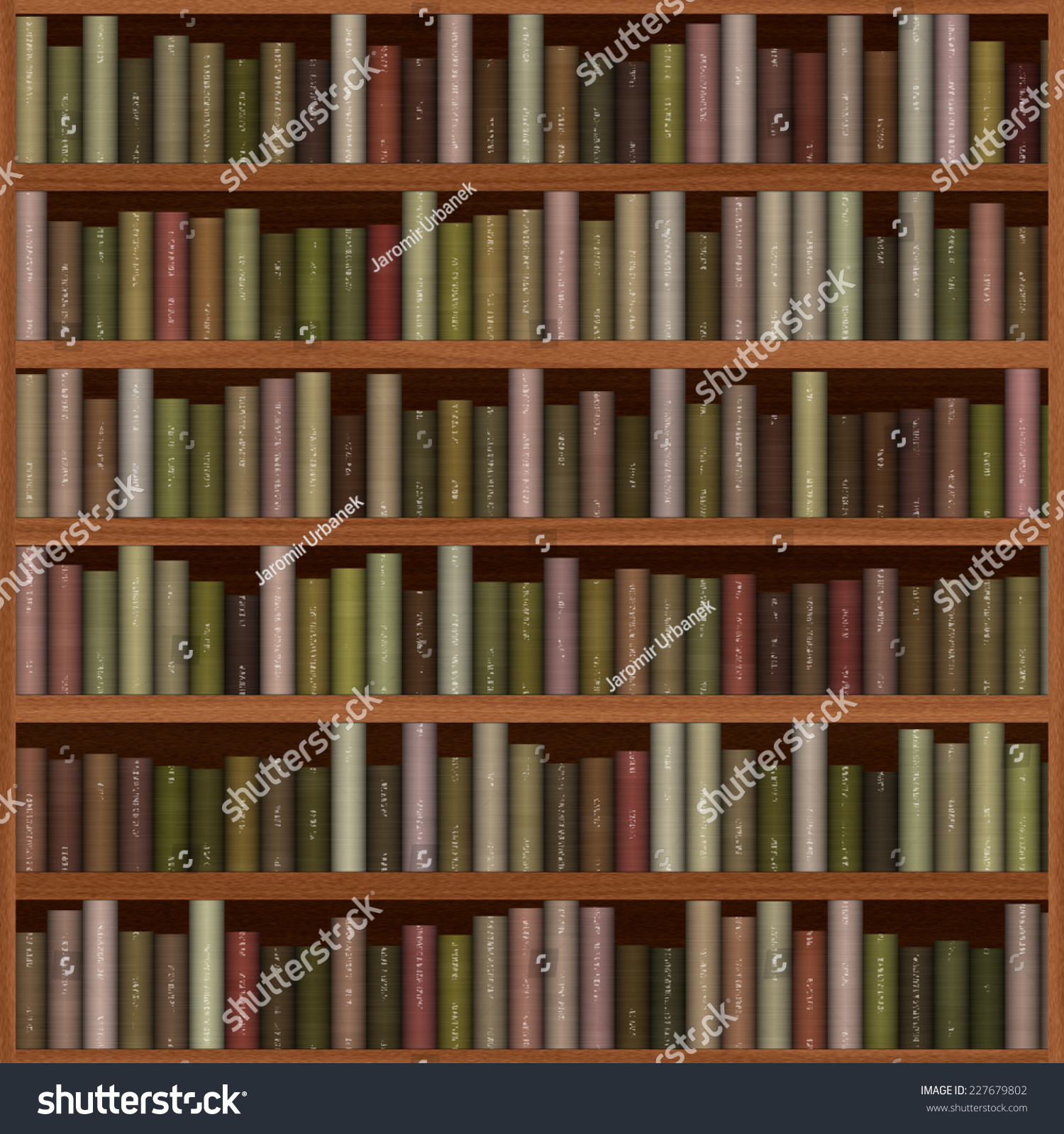 Old Wooden Bookshelf Texture With Books 227679802
