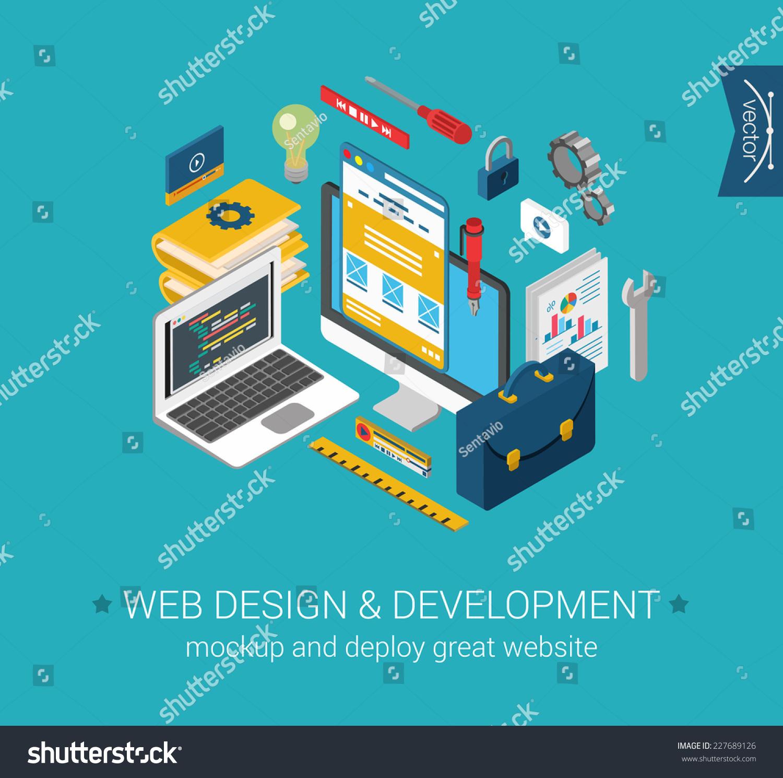 Web Design Development Programming Coding Mockup Stock