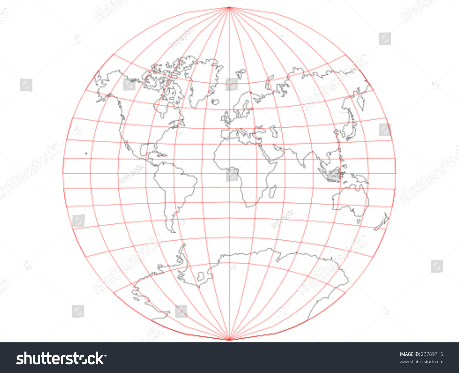 Vector map world map grid that stock vector 22769716 shutterstock a vector map of the world with a map grid that uses the van der grinten gumiabroncs Image collections