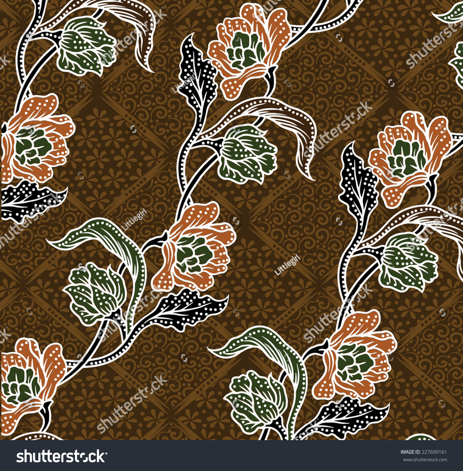 Batik Floral Patterndesign Fabric Stock Vector 227699161