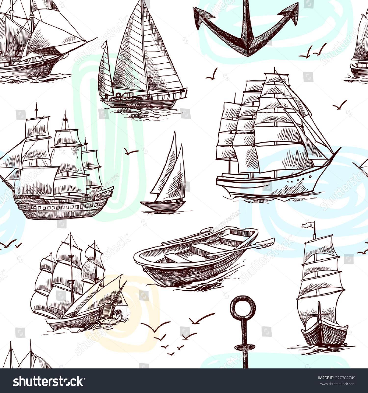 Sailing tall ships yachts and boat sketch decorative elements