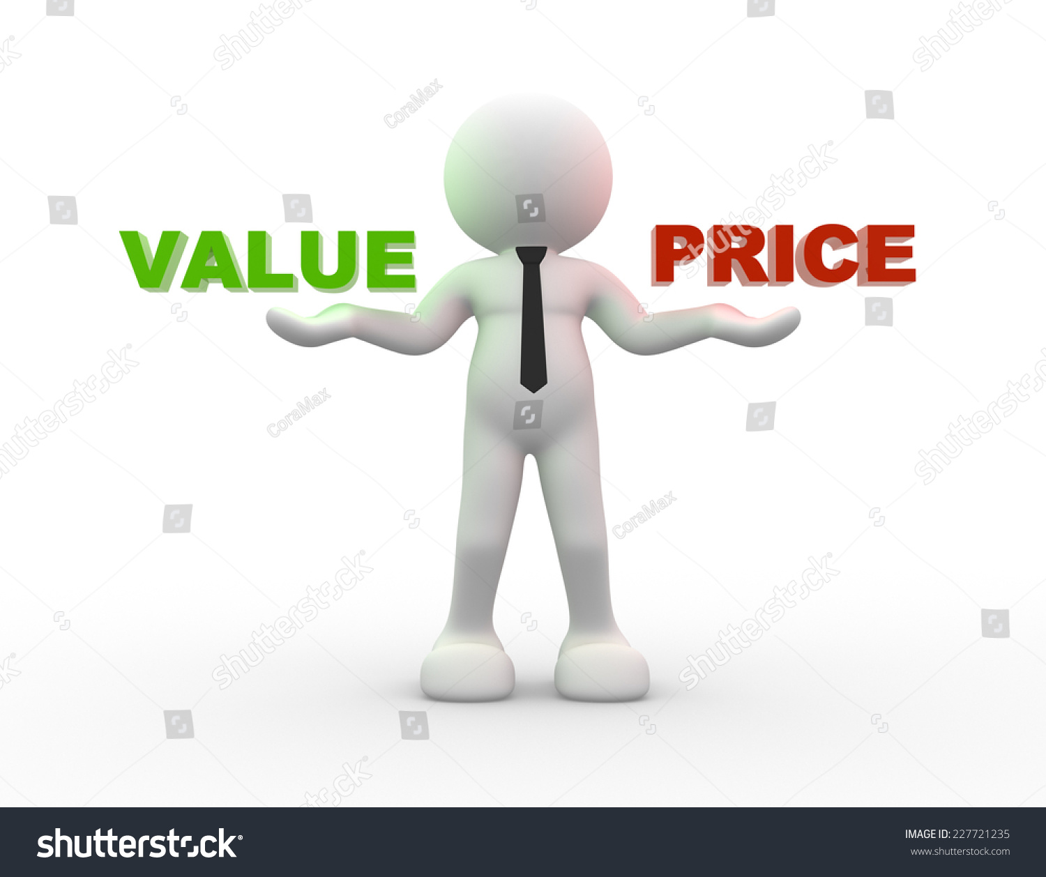 Person Pricing: Man, Person With Words Value And Price Stock
