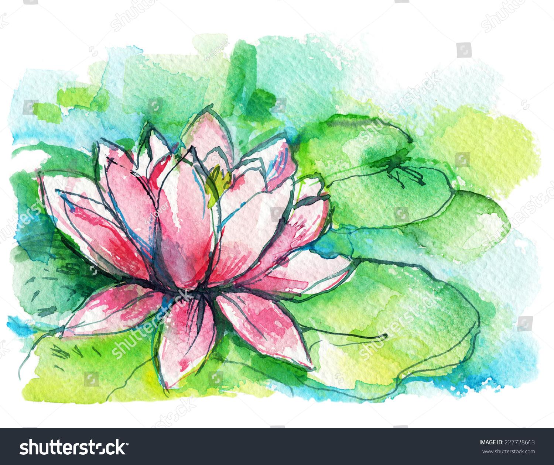 Pink lotus flower green leaves watercolor stock illustration pink lotus flower with green leaves watercolor sketch postcard izmirmasajfo