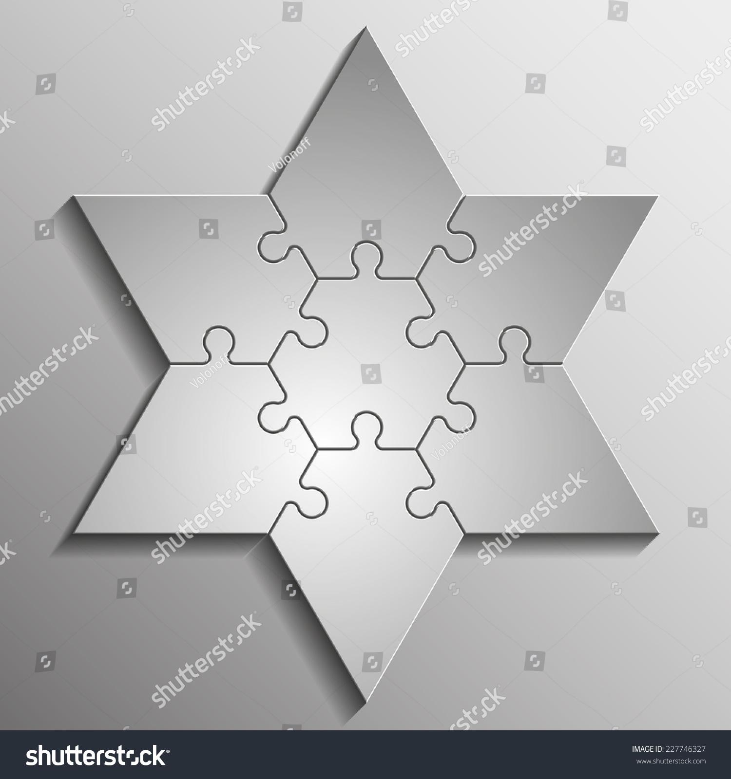 Star David Six Piece Flat Puzzle Stock Illustration 227746327 ...
