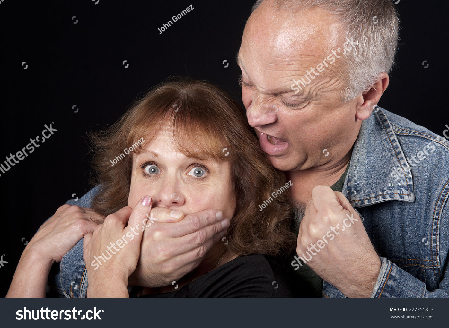 Woman Being Kidnapped And Abused Royalty Free Stock Photos