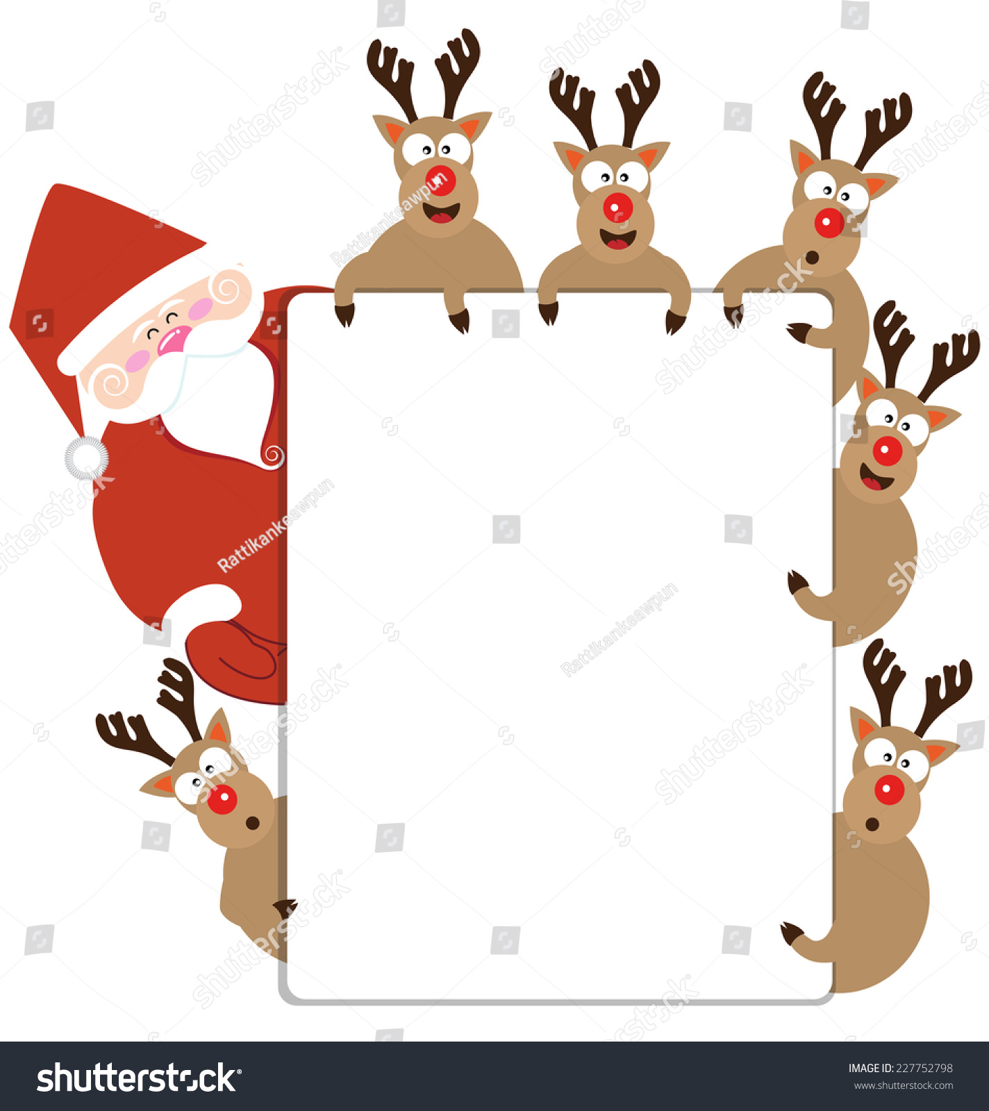 Santa Claus And Reindeer Present Christmas Card Vector ...