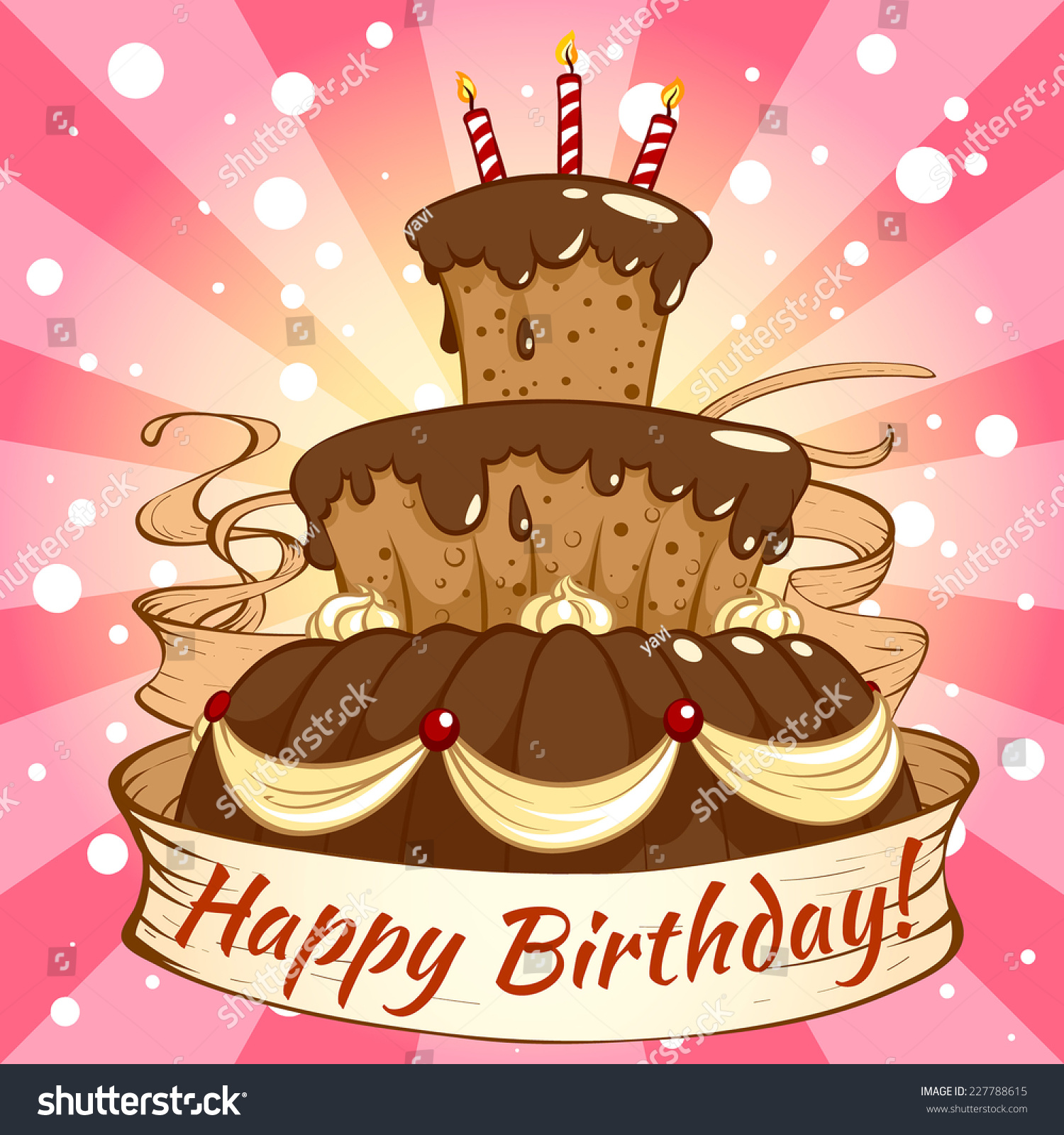 Birthday card big chocolate cake on stock vector 227788615 birthday card with a big chocolate cake on a pink background template card for birthday kristyandbryce Image collections