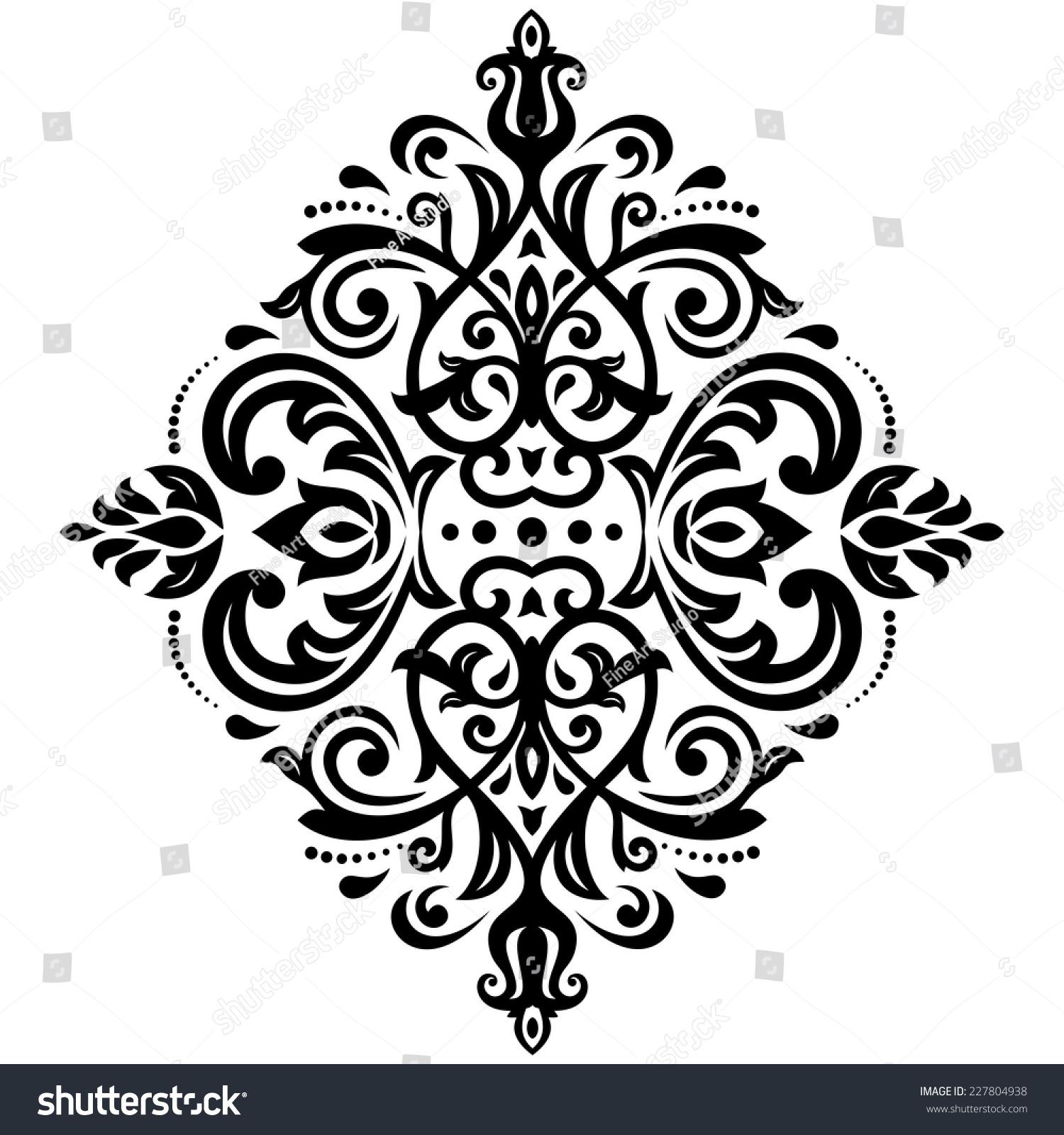 Damask Vector Floral Pattern Arabesque Oriental Stock