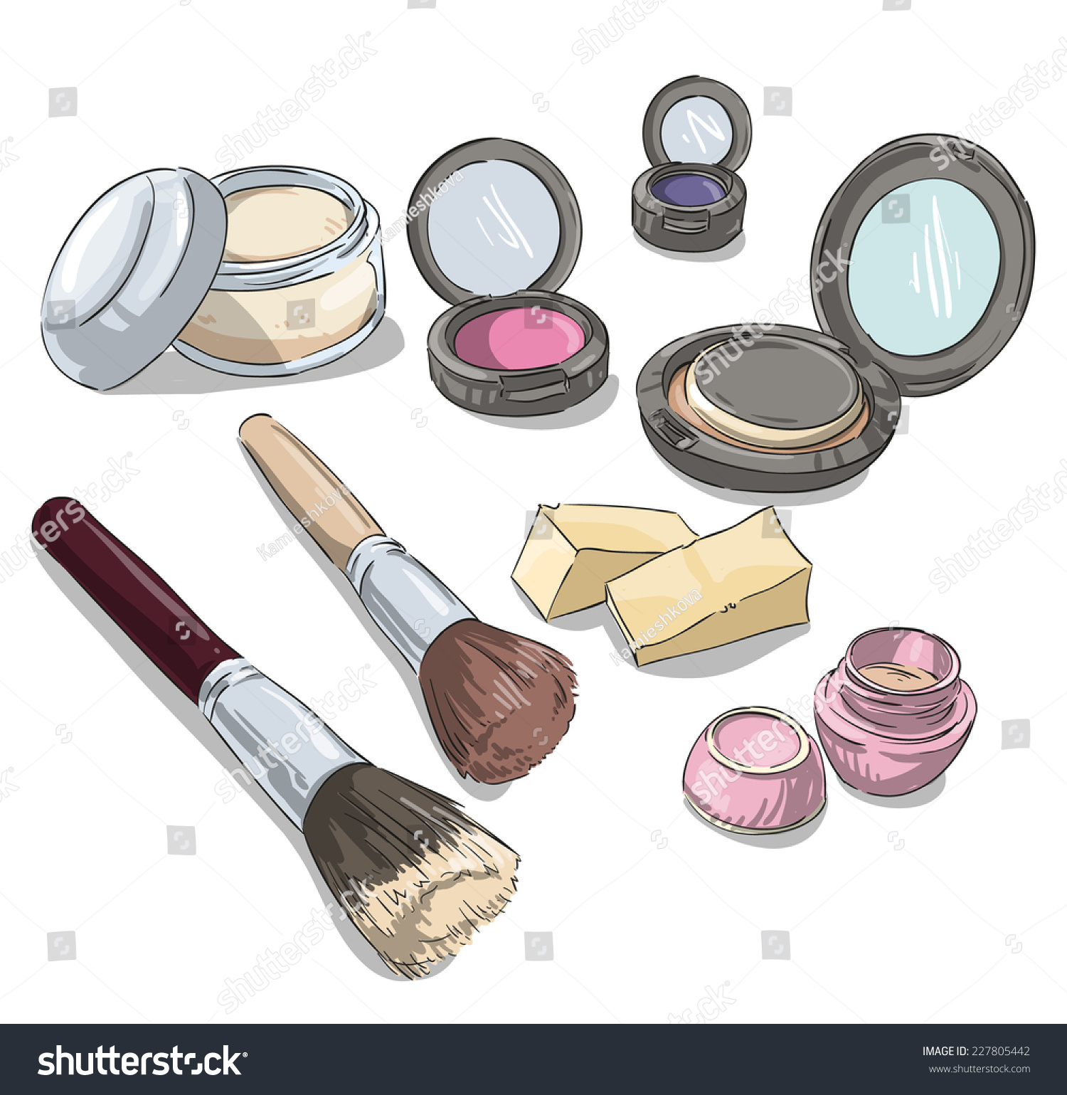 Makeup Products Drawing Fashion Illustration Stock Vector ...