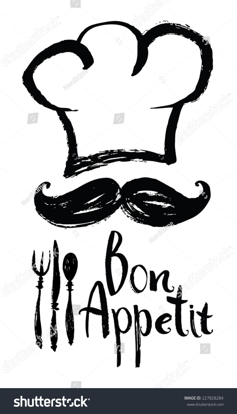 lettering bon appetit design card with chef hat and moustache stock vector 227828284 shutterstock. Black Bedroom Furniture Sets. Home Design Ideas