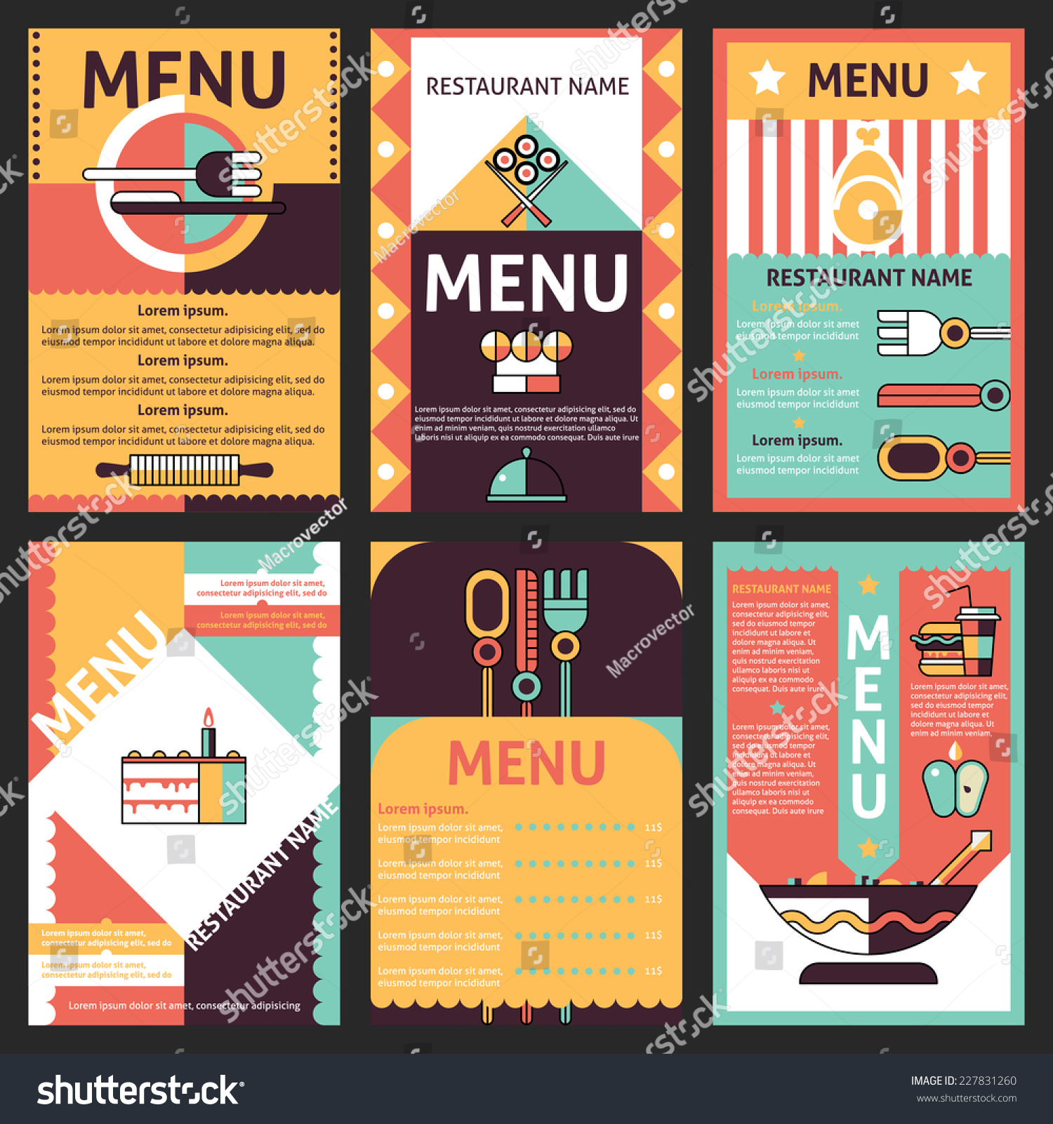 Abstract Modern Restaurant Menu List Designs Stock Vector ...