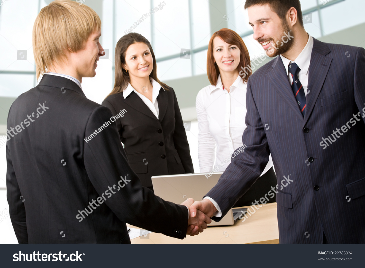 Business People Greeting Each Other Before Stock Photo Edit Now