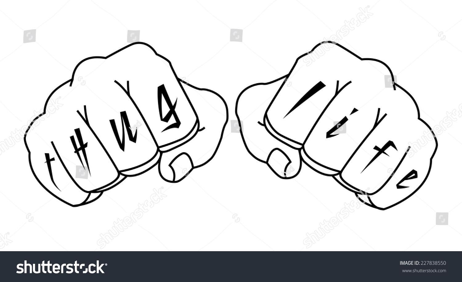 Gangster fists with thug life fingers tattoo man hands outlines vector illustration isolated on white