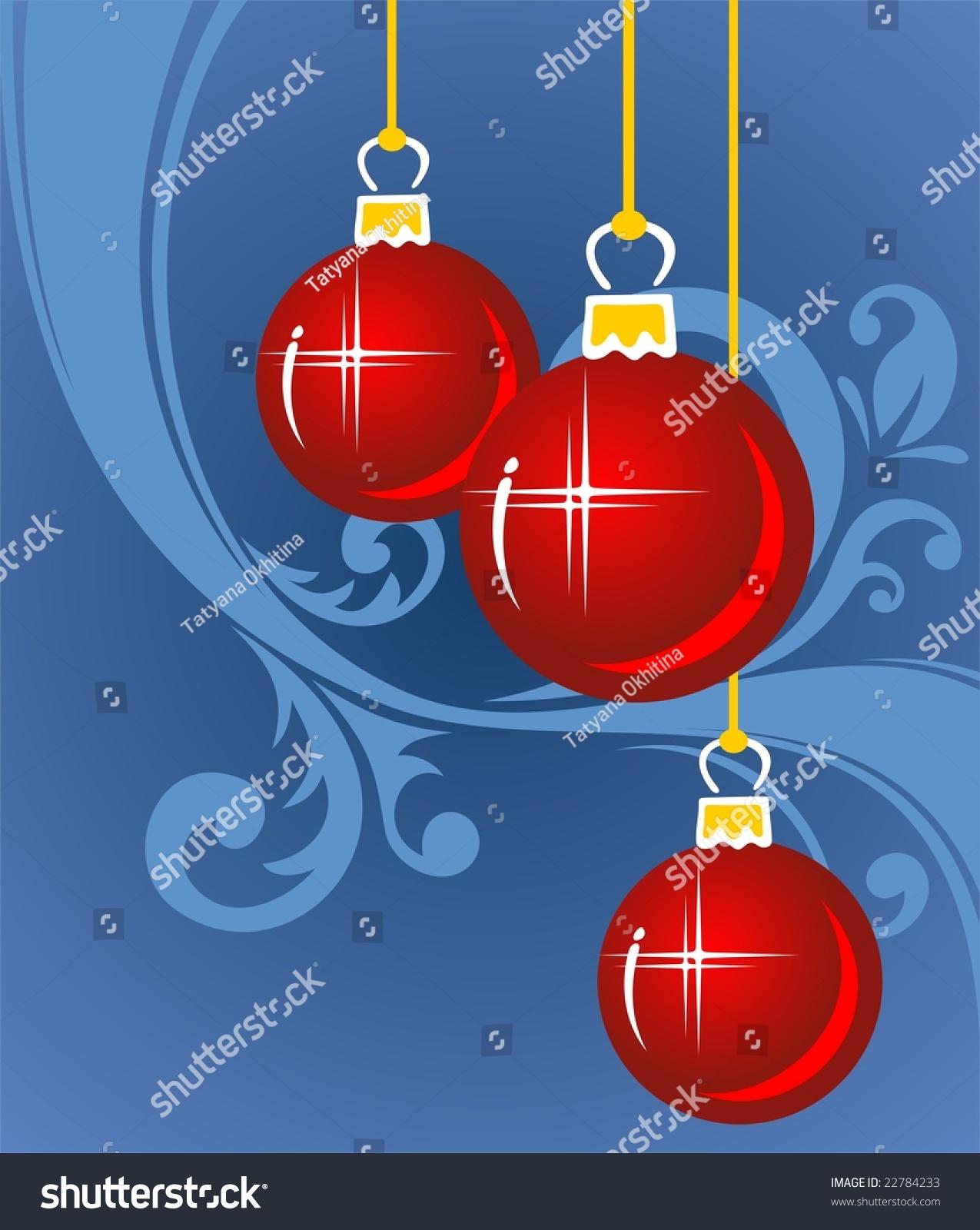 Red cartoon christmas balls on blue stock illustration