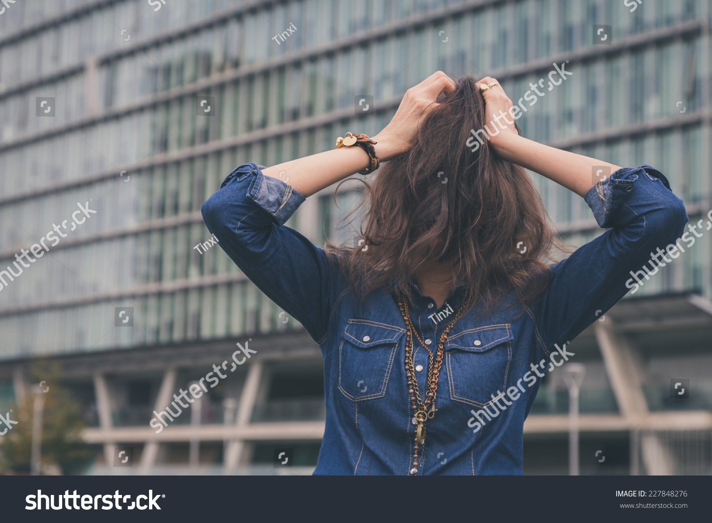 Pretty Girl Hiding Face Her Long Stock Photo (Edit Now