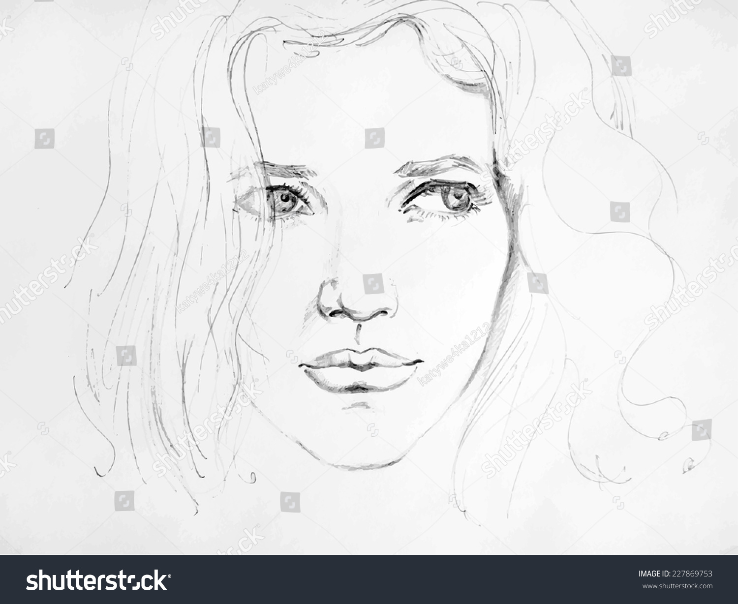 Hand drawn pencil sketch with face of a girl female portrait